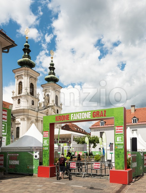 Graz, Austria - June 18, 2016: Pubic Viewing area by local Krone Zeitung (daily newspaper) during the European football championship ...