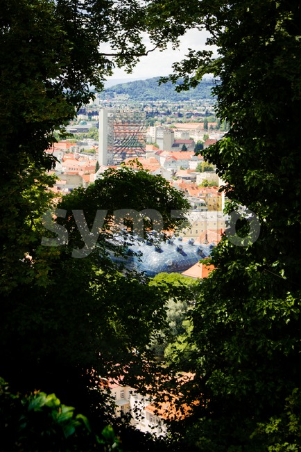 View on the interesting architecture of Graz, Austria, from the Schlossberg hill Stock Photo