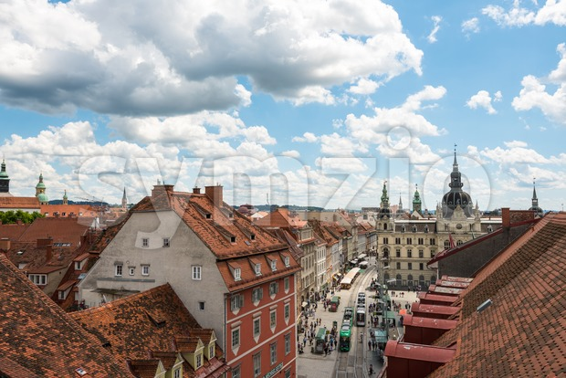 Graz, Austria - June 18, 2016: Beautiful old buildings in Graz, the second-largest city in Austria and capital of fthe ...