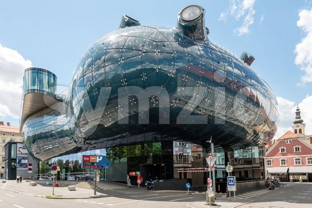 Graz, Austria - June 18, 2016: Kunsthaus Graz, an exhibition centre for contemporary art. The Kunsthaus with its futuristic design ...