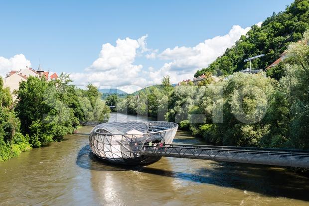 Artificial Mur Island in Graz, Austria Stock Photo