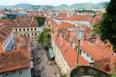 View of the Schlossbergplatz, castle hill square, in Graz , Austria Stock Photo