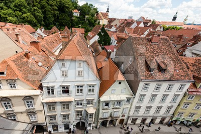 Beautiful old buildings in Graz, the second-largest city in Austria and capital of fthe ederal state of Styria. Stock Photo
