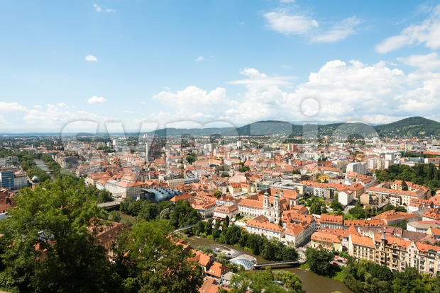 Skyline of Graz, the second-largest city of Austria Stock Photo