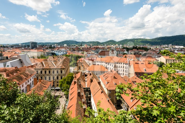 Skyline of Graz, the second-largest city of Austria as seen from Schlossberg Stock Photo