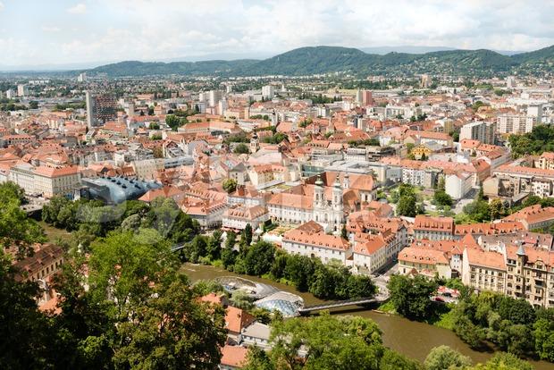 Skyline of Graz, the second-largest city of Austria Stock Photo
