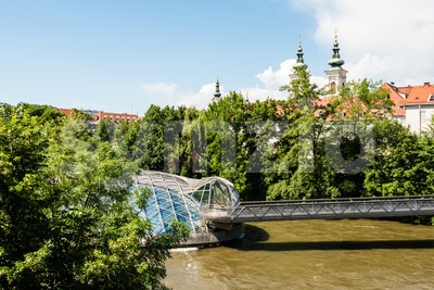 Artificial Mur Island in Graz, Austria Stock Photo
