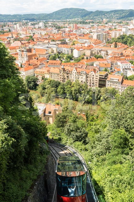 Graz, Austria - June 18, 2016: The funicular cable car cabin while going down the Schlossberg, castle hill, in Graz, ...