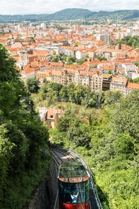 Funicular train going down the Schlossberg in Graz, Austria. Stock Photo