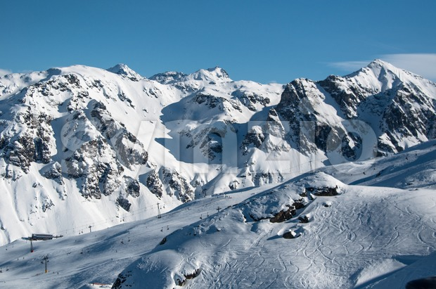 Beautiful Winter Mountain Panorama Stock Photo
