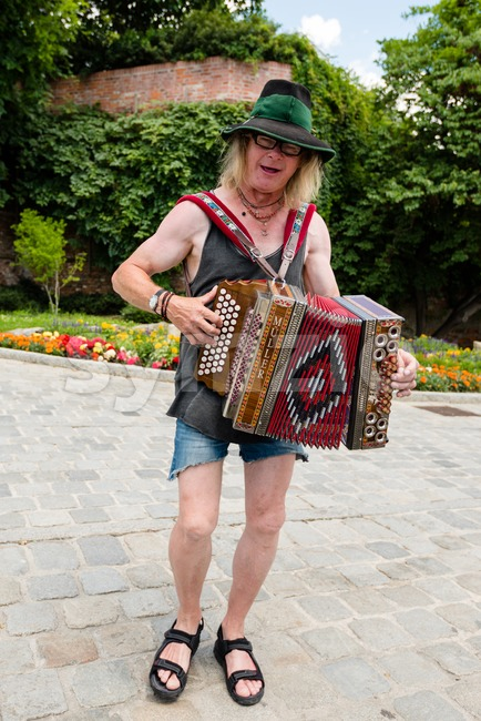 Traditional Austrian accordion player in Graz Stock Photo