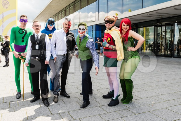 Cosplayers posing during Comic Con Germany in Stuttgart Stock Photo