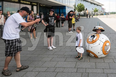 Cosplayer posing during Comic Con Germany in Stuttgart Stock Photo