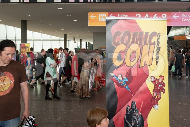 Stuttgart, Germany - June 25, 2016: Visitors, some of them dressed as cosplayers, in the entrance of the Comic Con ...