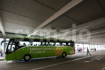 A long distance bus by Mein Fernbus in the new Stuttgart Central Bus Station Stock Photo