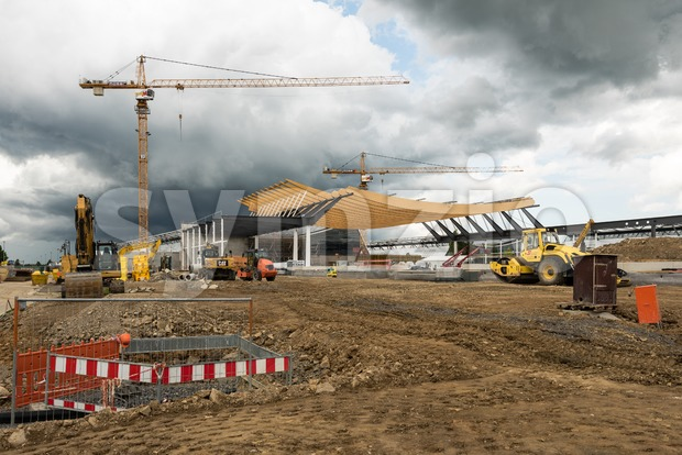 Construction Site of a new exhibition hall in Stuttgart, Germany Stock Photo
