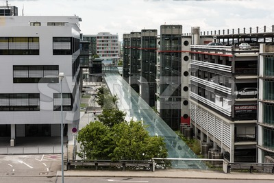 Parking Garages at the Stuttgart Airport Stock Photo