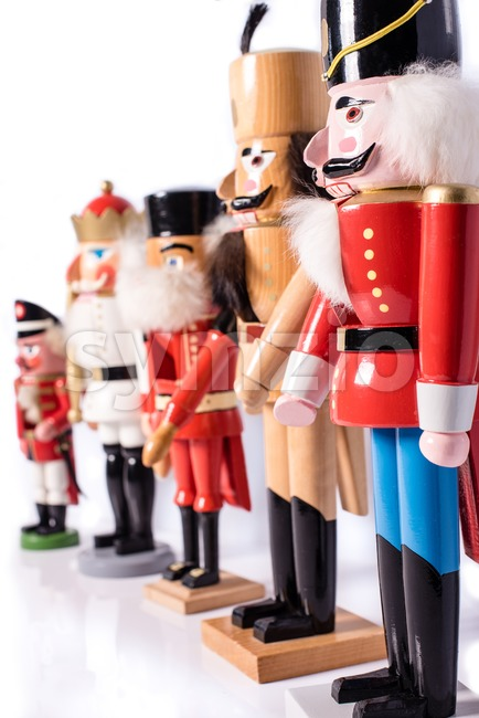 Row of five antique nutcrackers Stock Photo