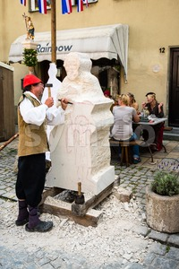 Historic Stone Sculptor Stock Photo