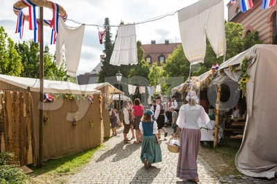 Stalls and tents at historic festival Stock Photo