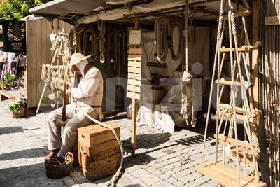 Historic Ropemaker in front of his workshop Stock Photo