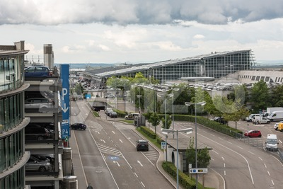 Approaching Stuttgart Airport Stock Photo