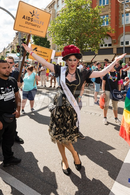 Stuttgart, Germany - July 30, 2016: Participant celebrating Christopher Street Day, the gay & lesbian pride festival in Stuttgart, Germany ...