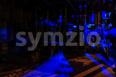 Night shot of Landschaftspark Nord, old illuminated industrial ruins in Duisburg, Germany Stock Photo