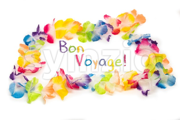 Colorful Hawaiian Flower Necklace with text Bon Vogage Stock Photo
