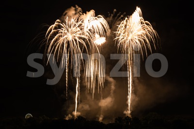Huge Golden Fireworks Stock Photo