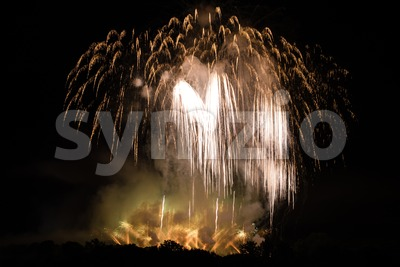 Huge Golden Fireworks Stock Photo