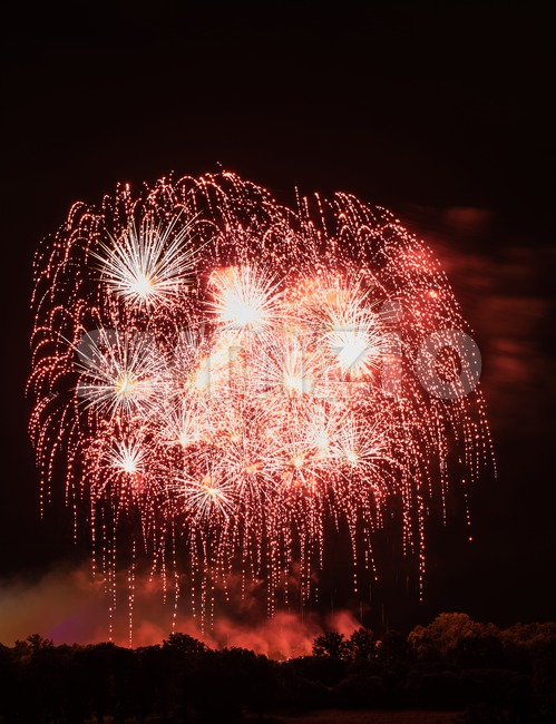 Huge Red Fireworks Stock Photo