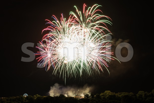 Huge bright fireworks Stock Photo