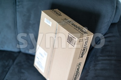Parcel waiting at home Stock Photo