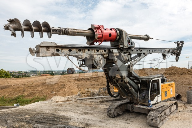 Ostfildern, Germany - September 3, 2016: A large rotary drill at a construction site of the Stuttgart21 railroad project in ...