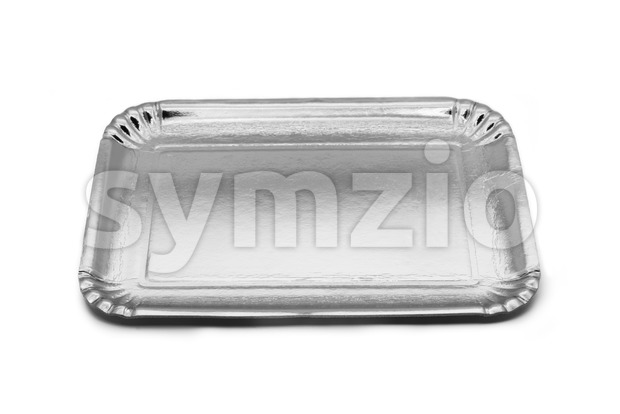 Empty silver paper food tray Stock Photo