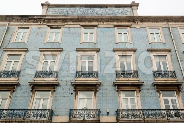 Lisbon house facade with tiles Stock Photo