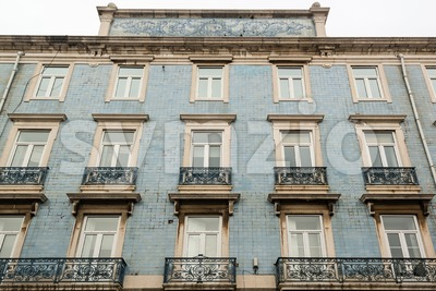 Lisbon house facade with tiles Stock Photo