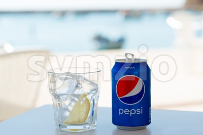 Pepsi can in Portugal Stock Photo