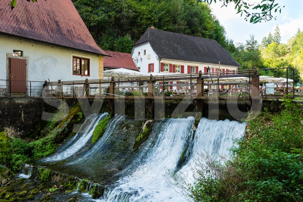 Hayingen, Germany - September 10, 2016: People are resting in front of the beautiful restaurant Friedrichshoehle at the Wimsener Cove ...