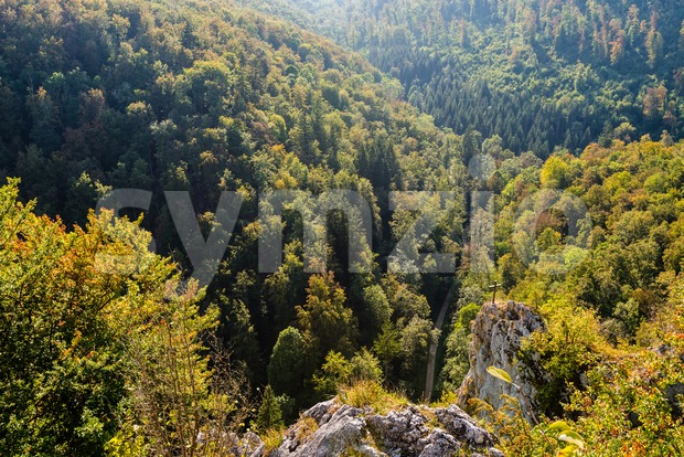 View down on beautiful landscape in Swabian Alb Stock Photo