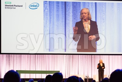 HPE president and chief executive officer Meg Whitman delivers a speech Stock Photo