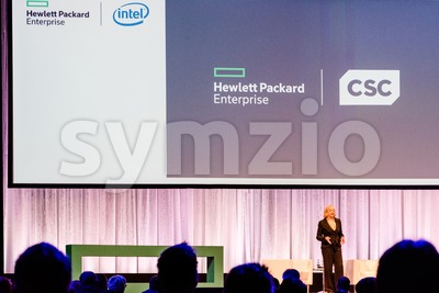 HPE president and chief executive officer Meg Whitman is talking about the CSC merger Stock Photo