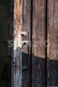 Rustic Wooden Barn Door Stock Photo