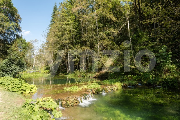 Beautiful landscape near the Wimsener Cove in Swabian Alb Stock Photo