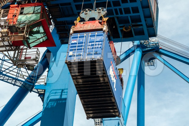 Sea container lifted by a harbor crane Stock Photo