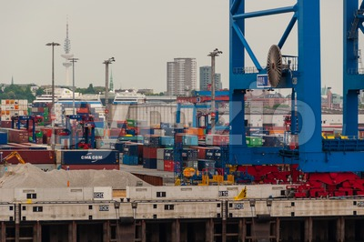 View from the Container Terminal Altenwerder on Hamburg Stock Photo