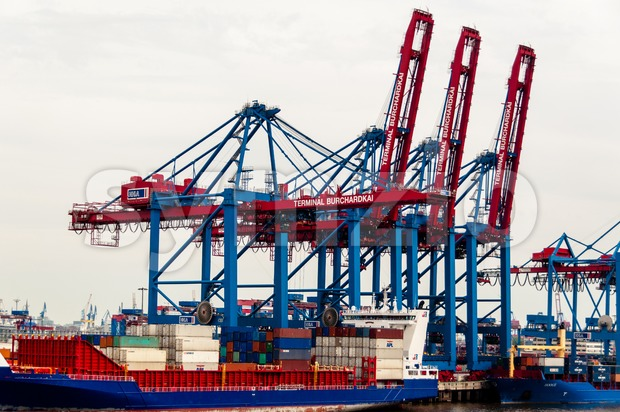 Large container ships at the Container Terminal Buchardkai in Hamburg Stock Photo