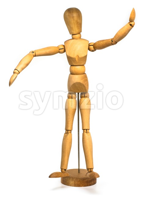 Photo of a wooden dummy isolated on a white background