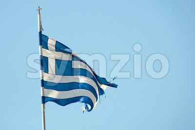 Rundown Greece Flag Stock Photo